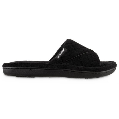 Women's Diamond Quilted Microterry Slide Slippers in Black Profile