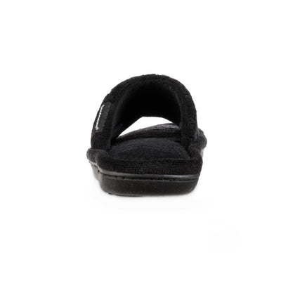 Women's Diamond Quilted Microterry Slide Slippers in Black Back Heel