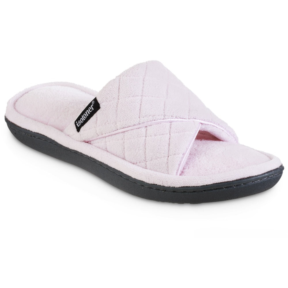 Women's Diamond Quilted Microterry Slide Slippers in Peony/Light Pink Right Angled View