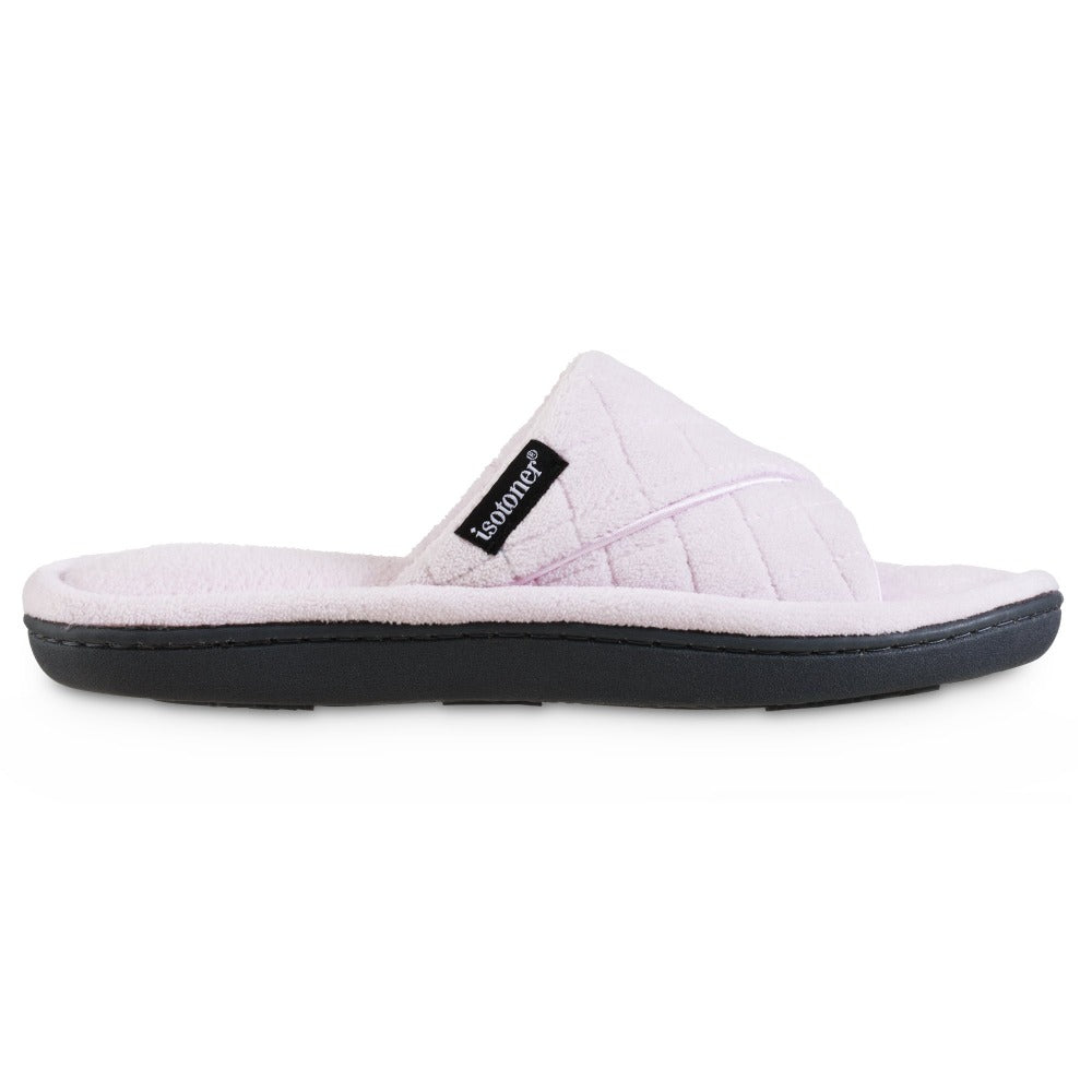 Women's Diamond Quilted Microterry Slide Slippers in Peony/Light Pink Profile
