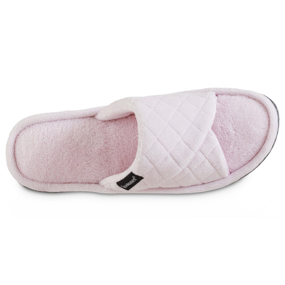 Women's Diamond Quilted Microterry Slide Slippers in Peony/Light Pink Inside Top VIew