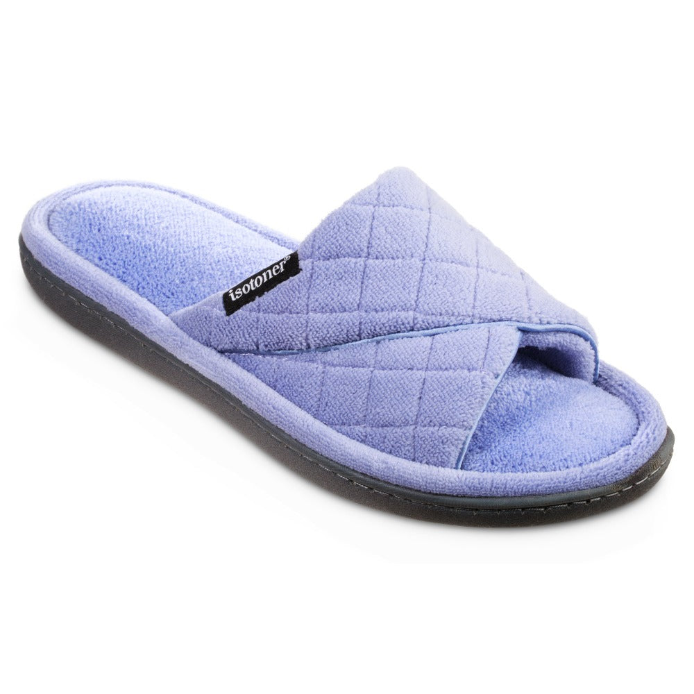 Women's Diamond Quilted Microterry Slide Slippers in Periwinkle Right Angled View