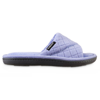 Women's Diamond Quilted Microterry Slide Slippers in Periwinkle Profile