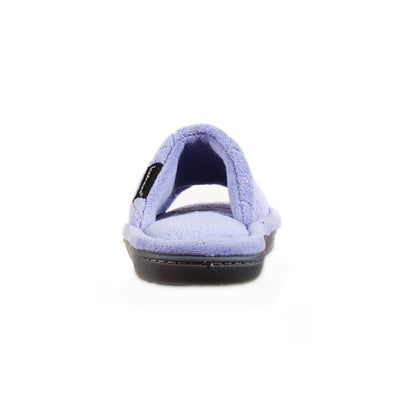 Women's Diamond Quilted Microterry Slide Slippers in Periwinkle Back Heel