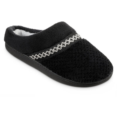 Women's Recycled Woven Popcorn Delilah Slipper in Black Right Angled View