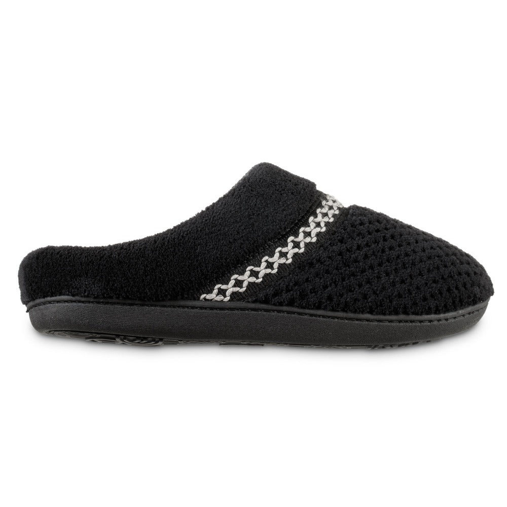 Women's Recycled Woven Popcorn Delilah Slipper in Black Profile