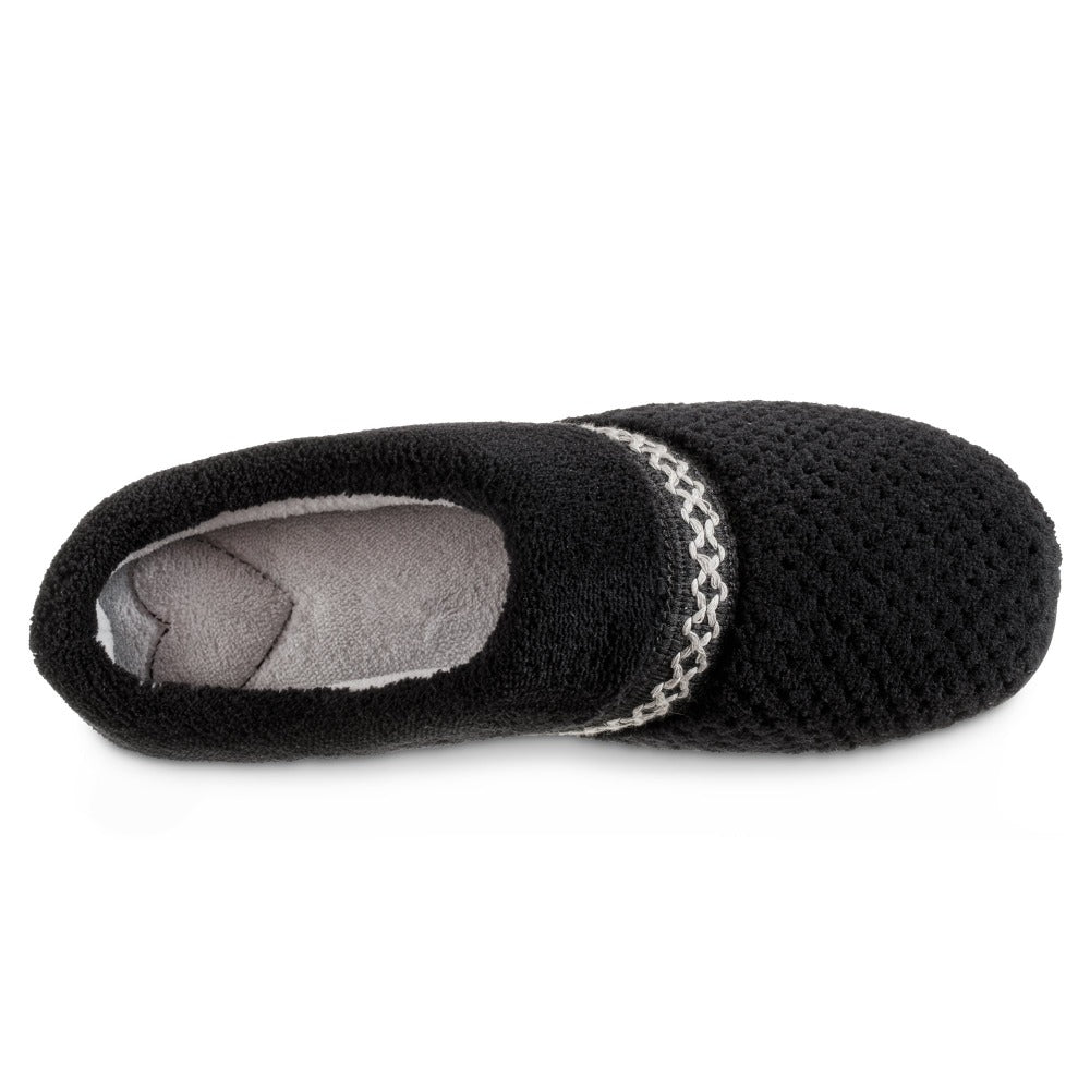 Women's Recycled Woven Popcorn Delilah Slipper in Black Inside Top View