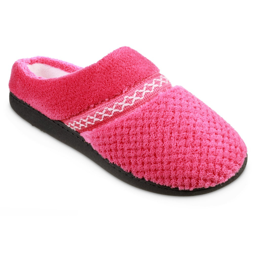 Women's Recycled Woven Popcorn Delilah Slipper in Strawberry Bright Pink Right Angled View