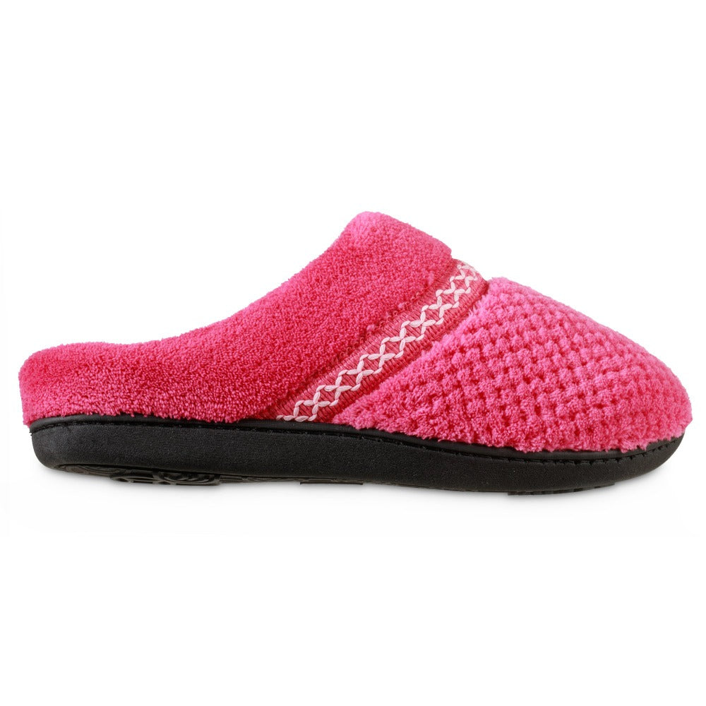 Women's Recycled Woven Popcorn Delilah Slipper in Strawberry Bright Pink Profile