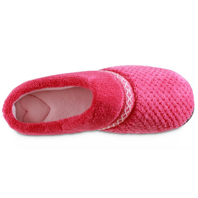 Women's Recycled Woven Popcorn Delilah Slipper in Strawberry Bright Pink Inside Top View