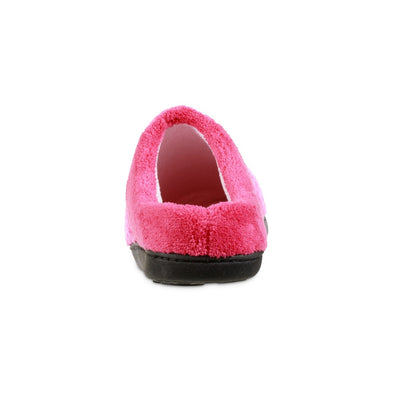 Women's Recycled Woven Popcorn Delilah Slipper in Strawberry Bright Pink Back Heel
