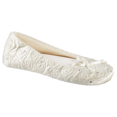 Womens Ballerina Slipper Rose Quilted Slipper in Ivory