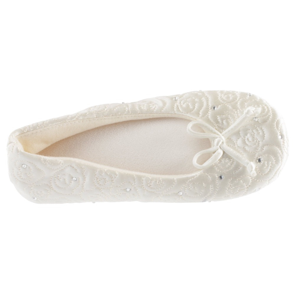 Womens Ballerina Slipper Rose Quilted Slipper in Ivory Rose Top Down View