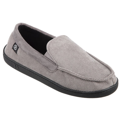 Men's Diamond Corduroy Moccasin Slippers in Ash (Grey) Quarter View