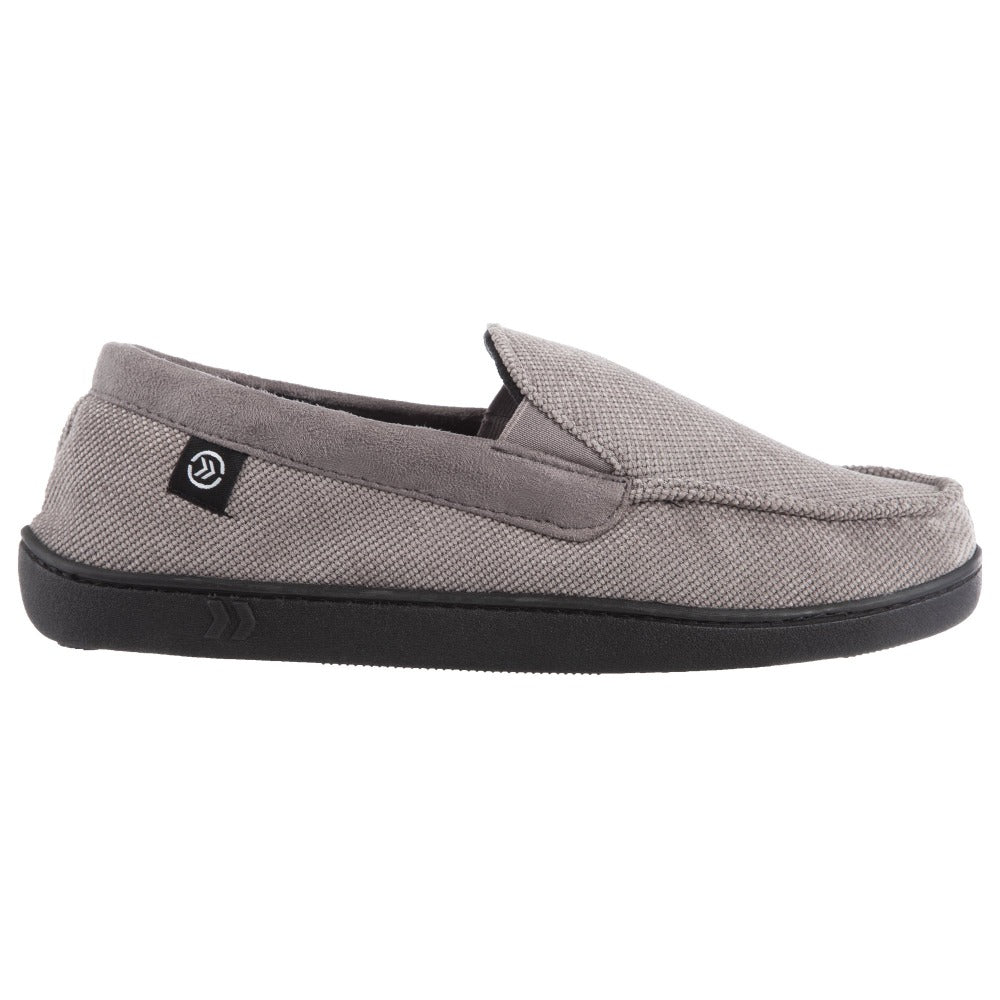 Men's Diamond Corduroy Moccasin Slippers Ash Profile View