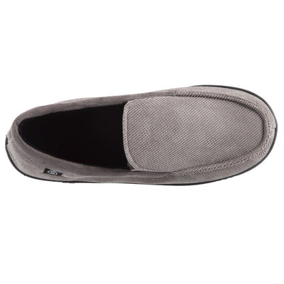 Men's Diamond Corduroy Moccasin Slippers in Ash (Grey) Top View