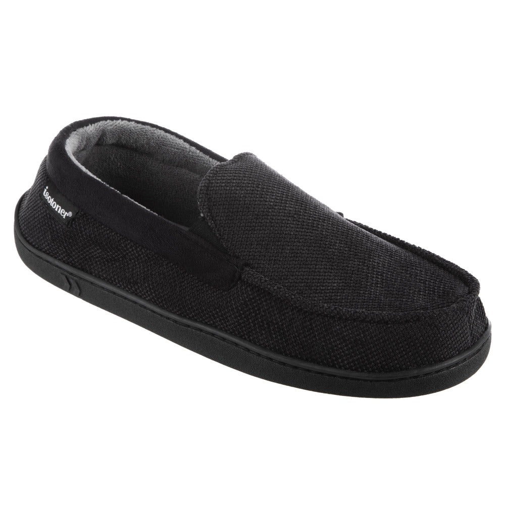 Men's Diamond Corduroy Moccasin Slippers in Black Quarter View