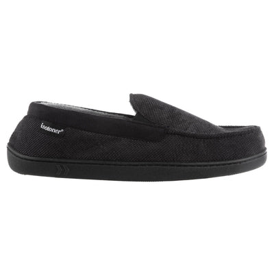 Men's Diamond Corduroy Moccasin Slippers in Black Side Profile