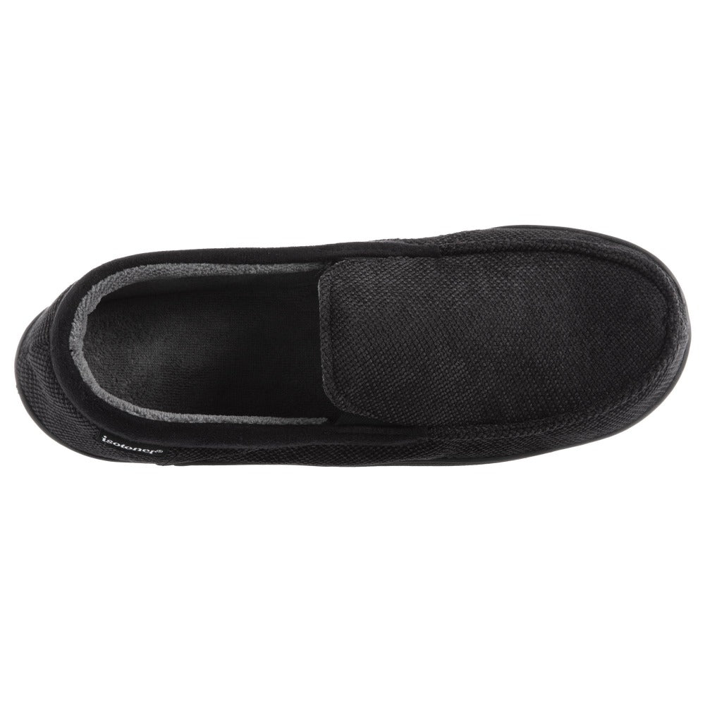 Men's Diamond Corduroy Moccasin Slippers in Black Top View