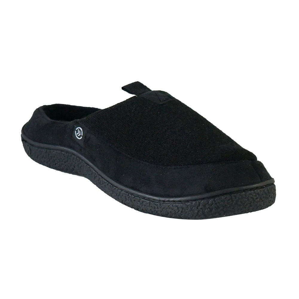 Men's Textured Knit Nathan Hoodback Slipper in Black Right angled View