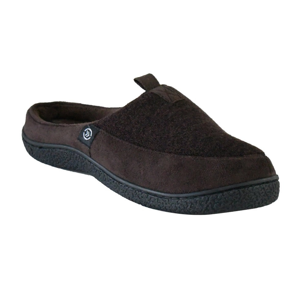 Men's Textured Knit Nathan Hoodback Slipper in Dark Chocolate Right Angled View