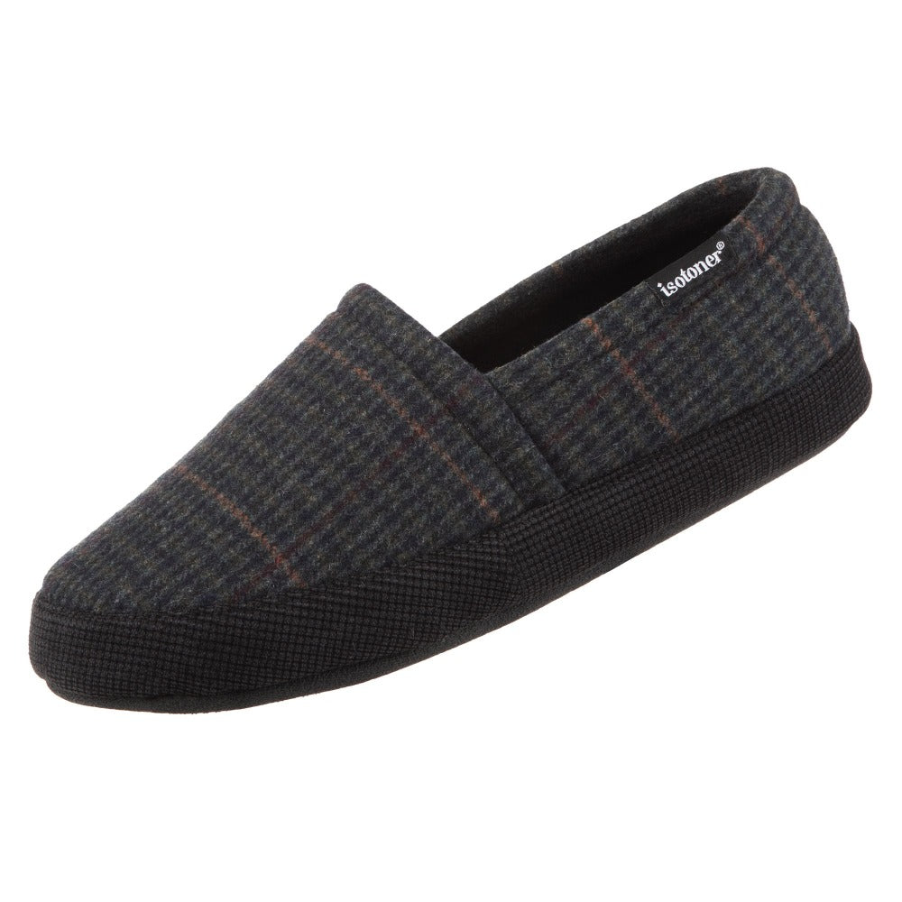Men's Plaid Liam Closed Back Slippers in Black (Plaid pattern) Left Angled View