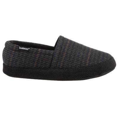 Men's Plaid Liam Closed Back Slippers in Black (Plaid pattern)