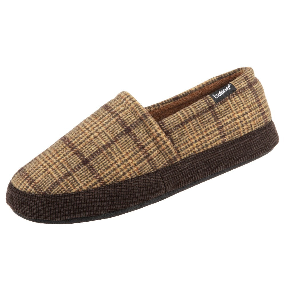 Men's Plaid Liam Closed Back Slippers in Dark Chocolate (Plaid pattern) Left Angled View