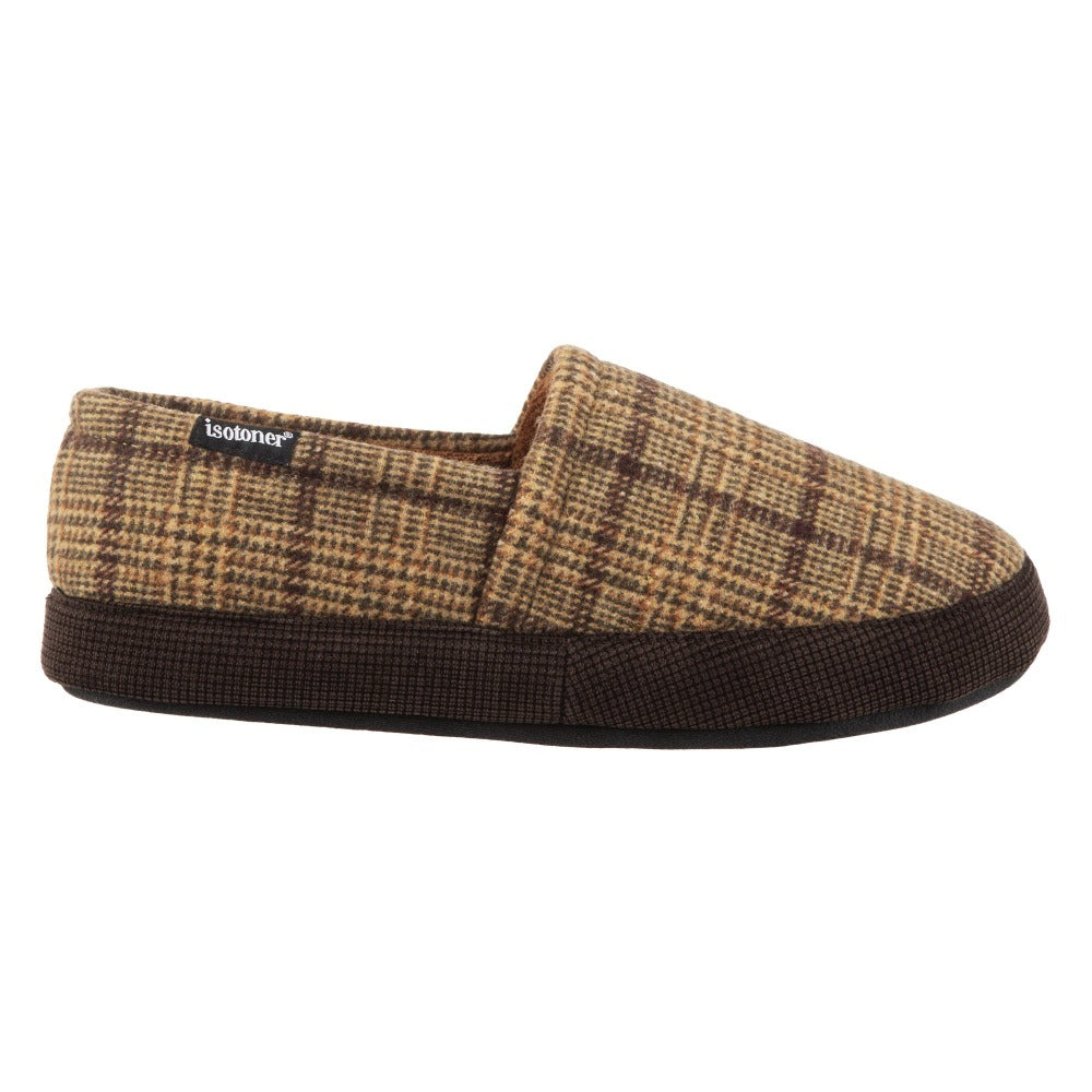 Men's Plaid Liam Closed Back Slippers in Dark Chocolate (Plaid pattern)
