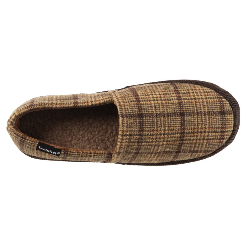 Men's Plaid Liam Closed Back Slippers in Dark Chocolate (Plaid pattern) Top View