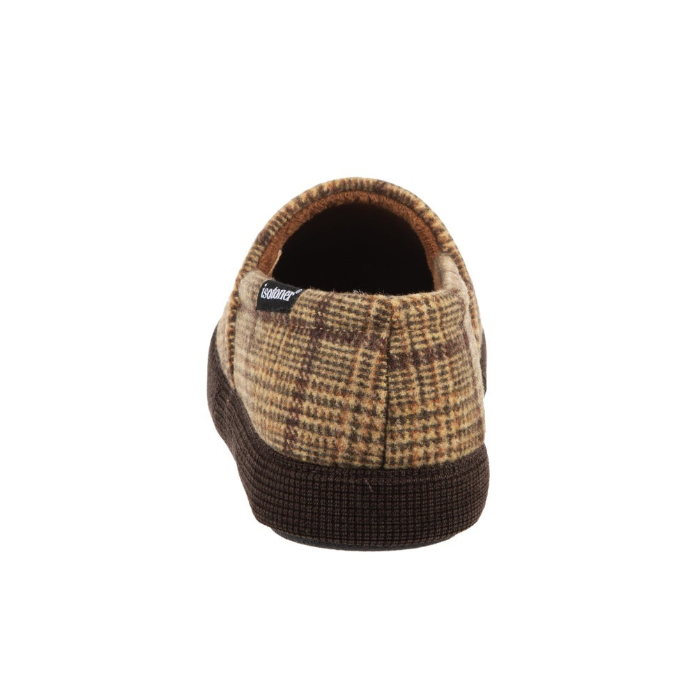 Men's Plaid Liam Closed Back Slippers in Dark Chocolate (Plaid pattern) Heel View