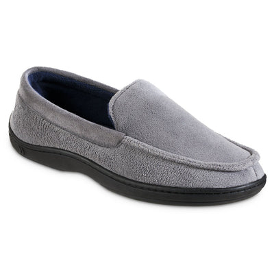 Men's Microterry Jared Moccasin Slippers in Ash Right Angled View