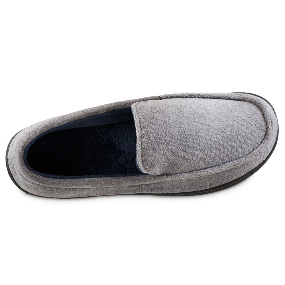 Men's Microterry Jared Moccasin Slippers in Ash Top Inside View