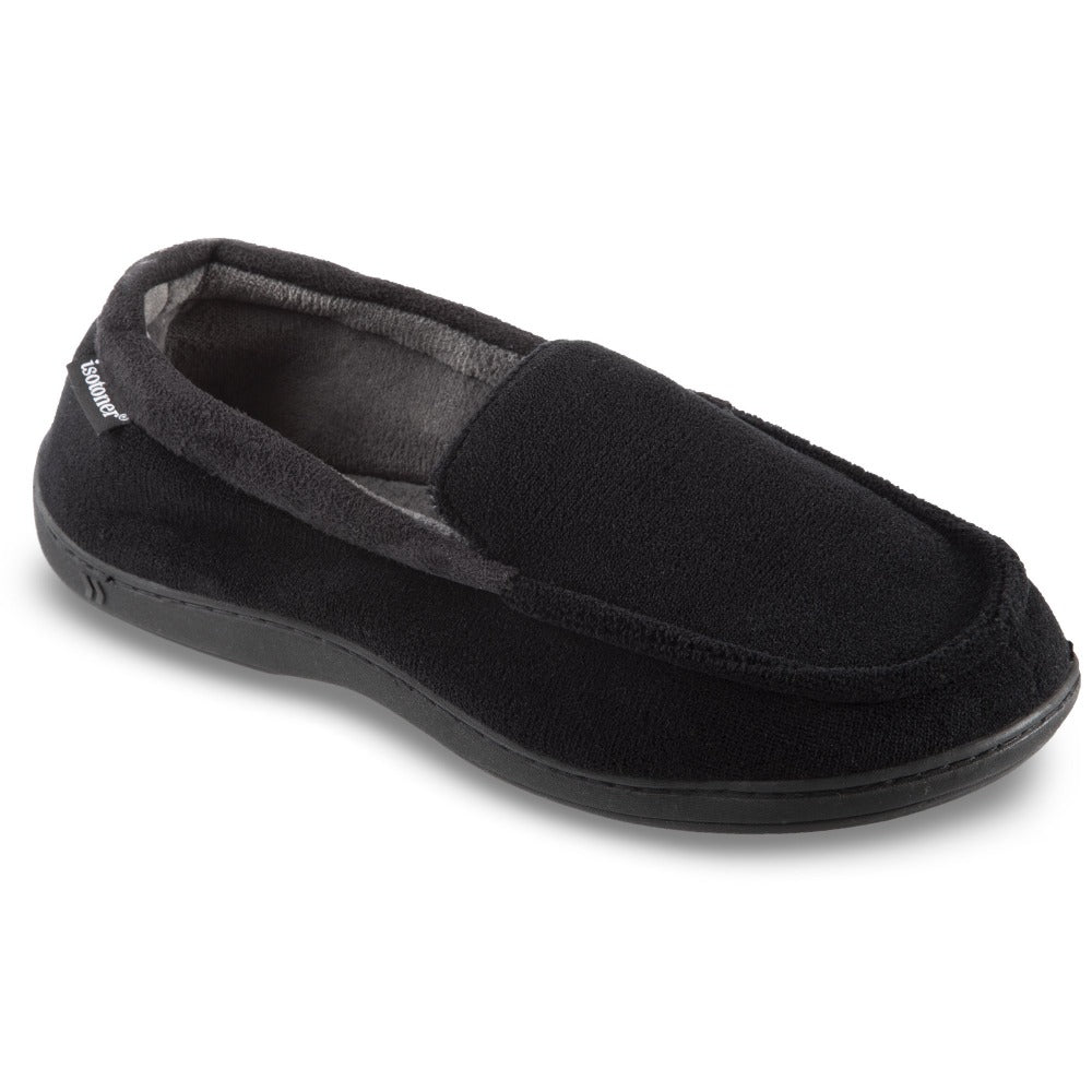 Men's Microterry Jared Moccasin Slippers in Black Right Angled View