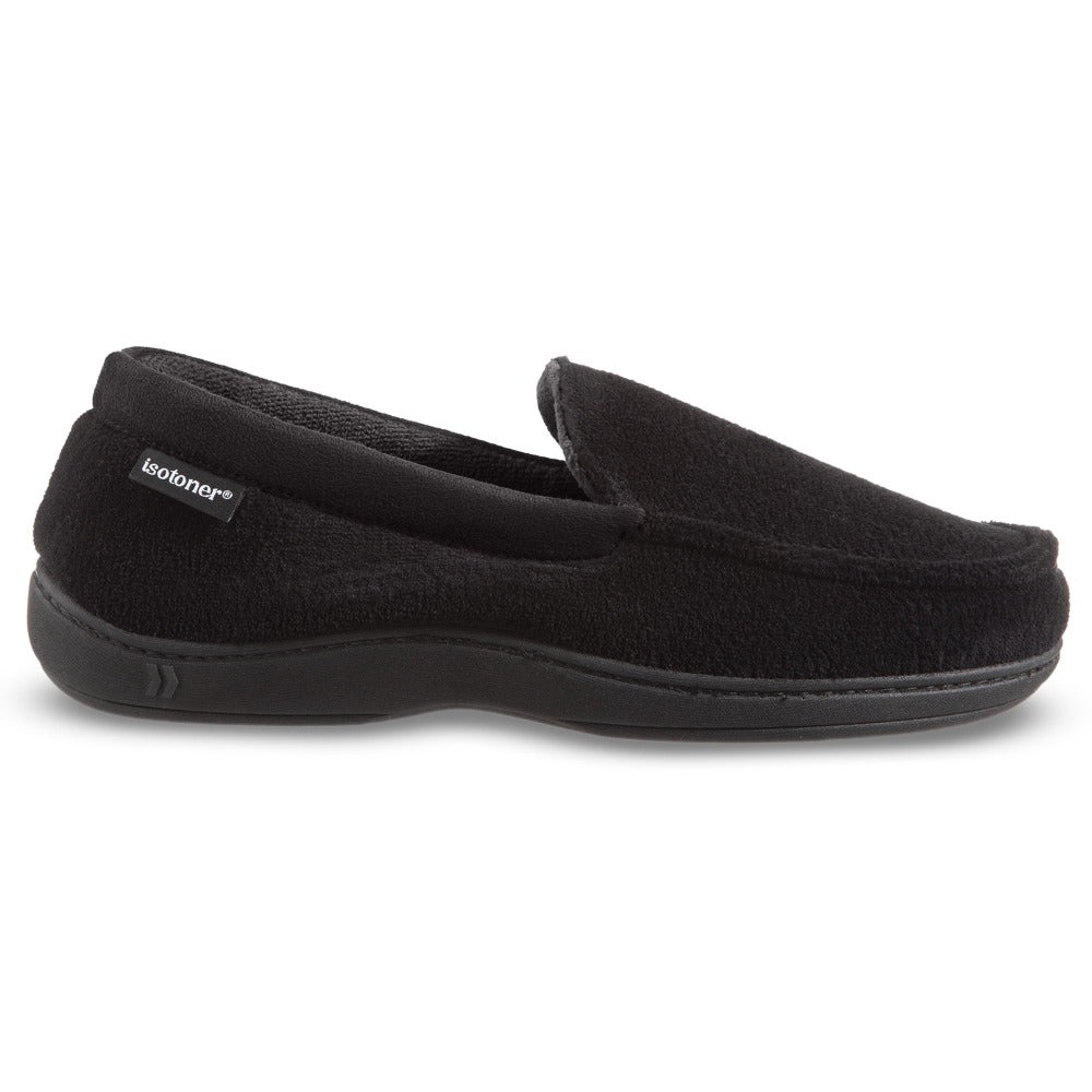 Men's Microterry Jared Moccasin Slippers in Black Profile