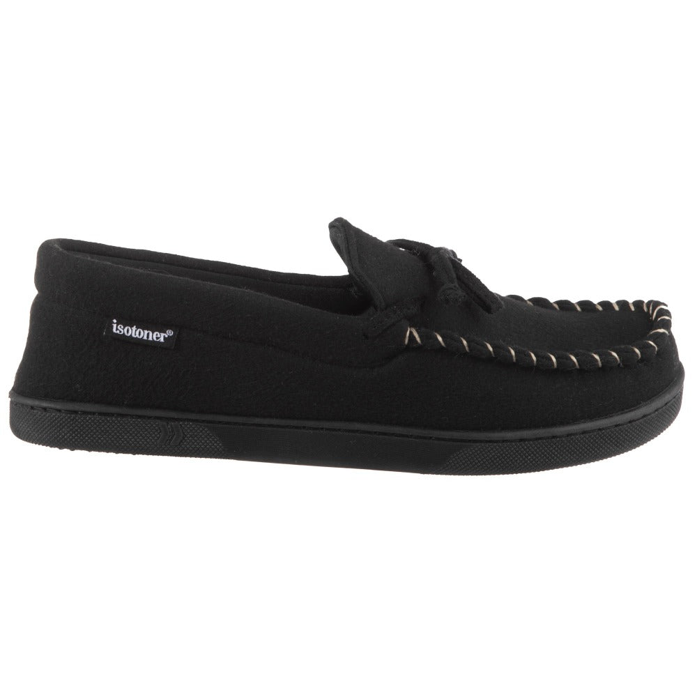 Men's Faux Wool Blake Moccasin Slippers in Black Profile View