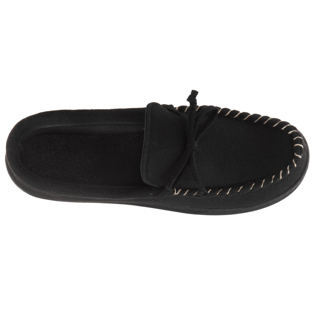 Men's Faux Wool Blake Moccasin Slippers in Black Top View