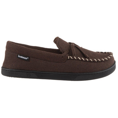Men's Faux Wool Blake Moccasin Slippers in Dark Chocolate Profile View