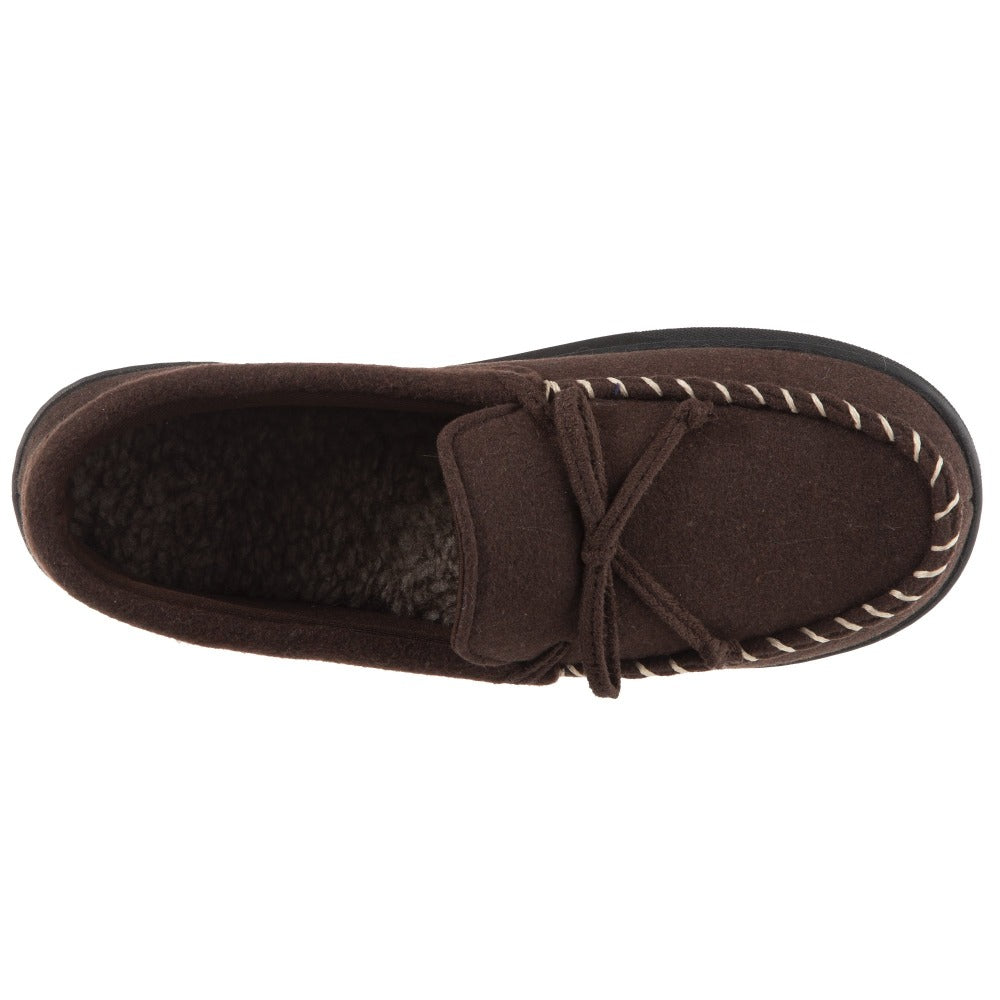 Men's Faux Wool Blake Moccasin Slippers in Dark Chocolate Top View