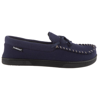 Men's Faux Wool Blake Moccasin Slippers in Navy Profile View