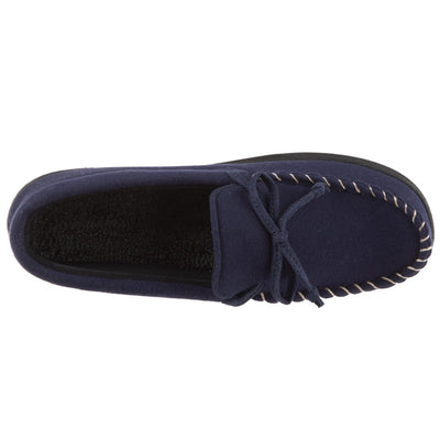 Men's Faux Wool Blake Moccasin Slippers in Navy Top View