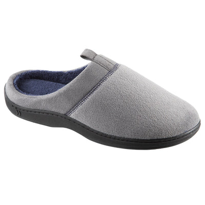 Men's Microterry Jared Hoodback Slippers in Ash Right Angled View