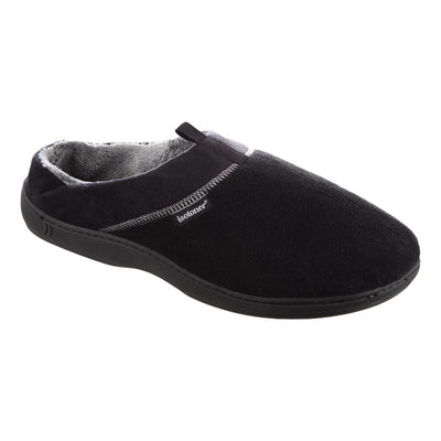 Men's Microterry Jared Hoodback Slippers in Black Right Angled View