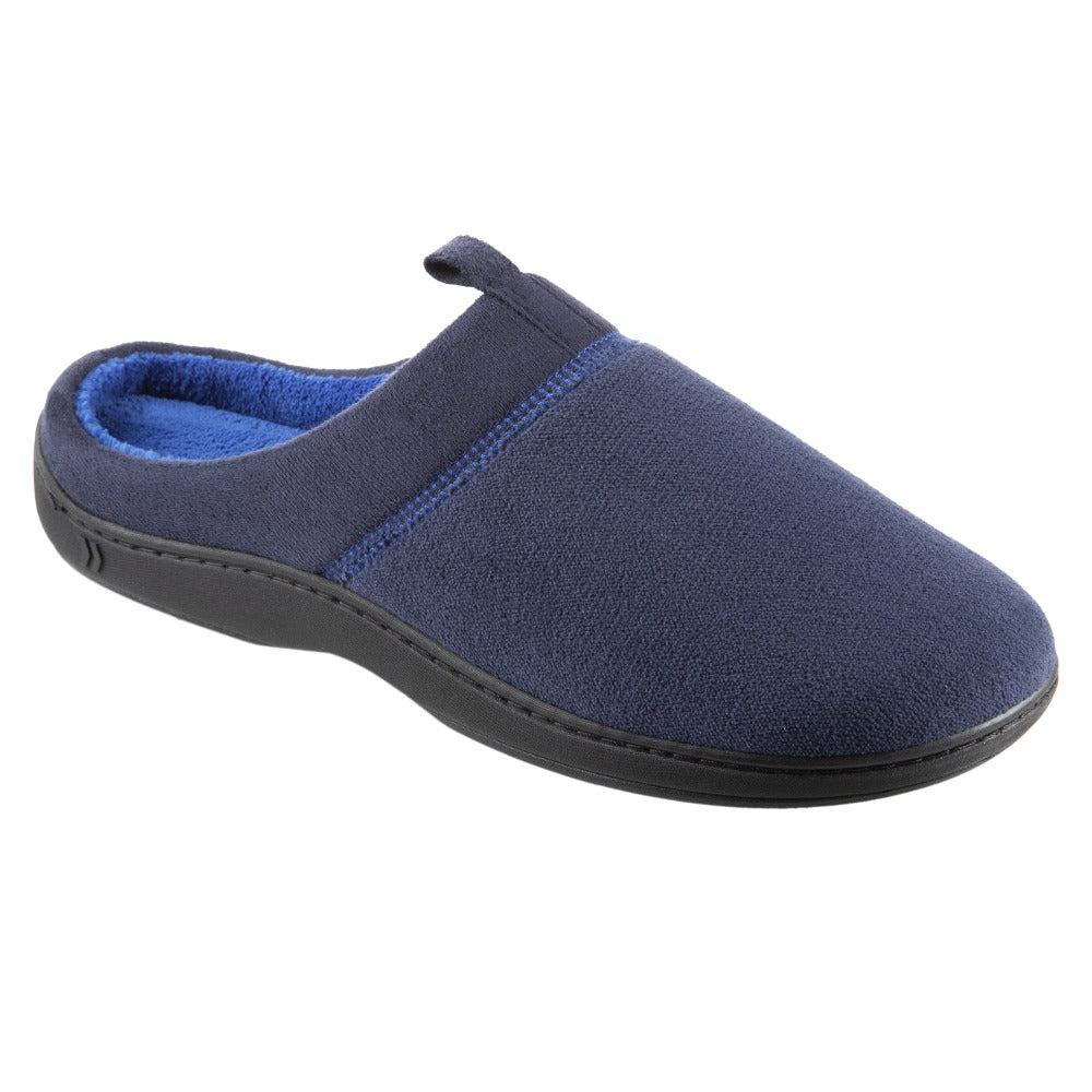 Men's Microterry Jared Hoodback Slippers in Navy Blue Right Angled View