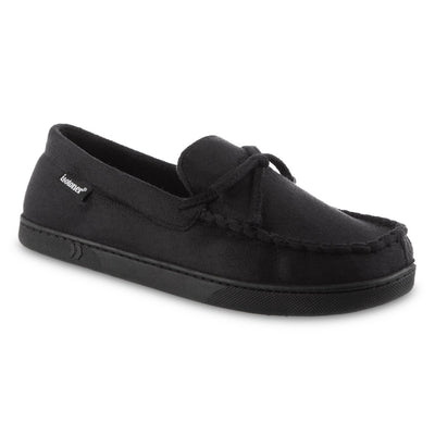 Men's Liam Boater Moccasin Slippers in Black Right Angled View