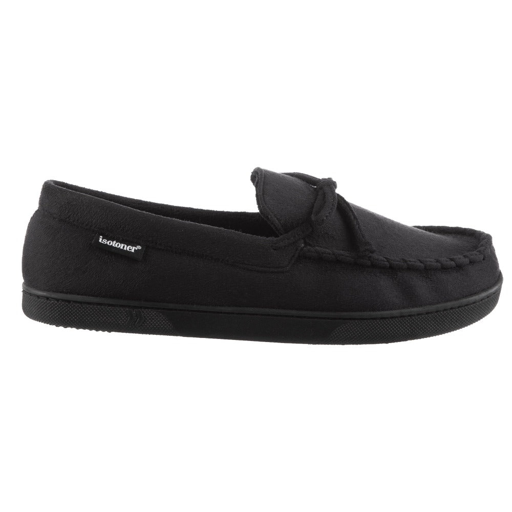Men's Liam Boater Moccasin Slippers in Black Profile