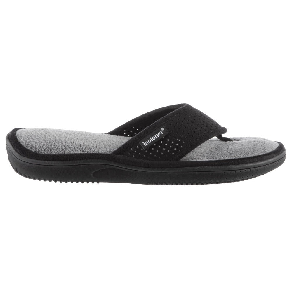 Men's Ethan Perforated Microsuede Thong Slippers Black Profile View