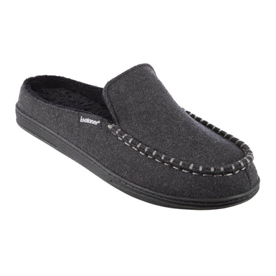 Men's Faux Woolen Grady Hoodback Slippers in Dark Charcoal Heather Right Angled View