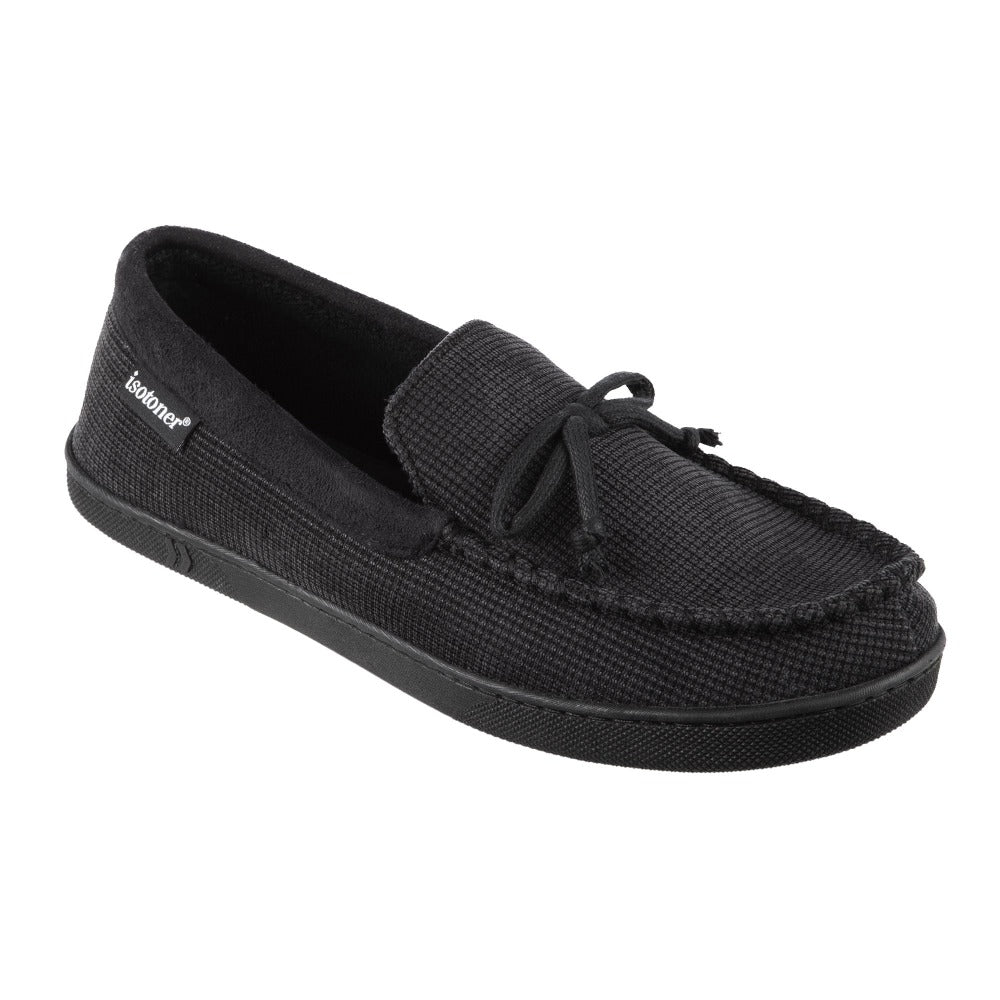 Men's Mini Box Cord Luke Moccasin with Lacing in Black Right Angled View