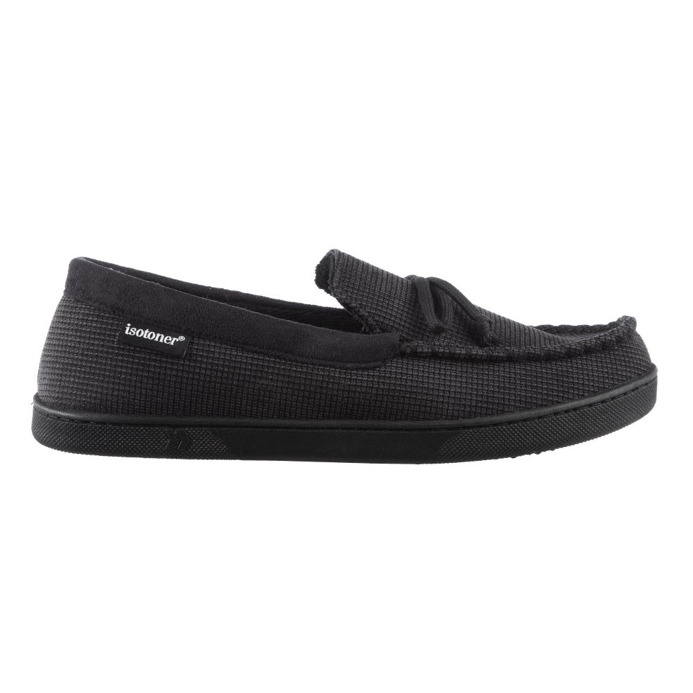 Men's Mini Box Cord Luke Moccasin with Lacing in Black